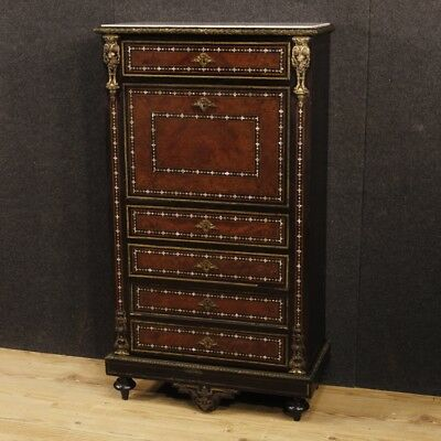Antique secrétaire french furniture writing desk cupboard wood inlaid 800 XIX