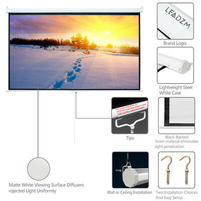 """100"""" 16:9 Manual Pull Down Projection Screen Projector Home Movie Matte White"""
