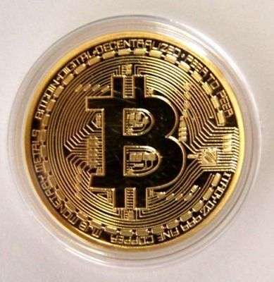 Gold Bitcoin Commemorative Round Collectors Coin Bit Coin is Gold Plated Coins#