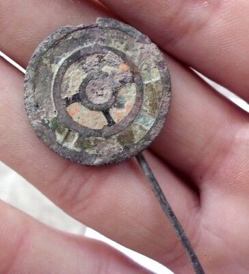 Ancient Celtic Roman Enameled Bronze Hair - Dress Pin - 200/100 Bc - Rare