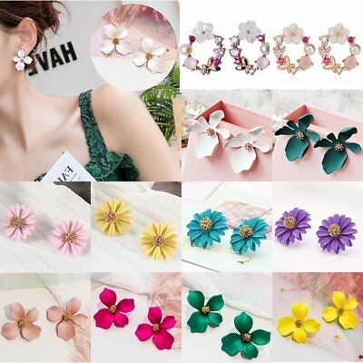Charm Boho Printing Flowers Ear Stud Earrings Women Wedding Bridal Jewellery New