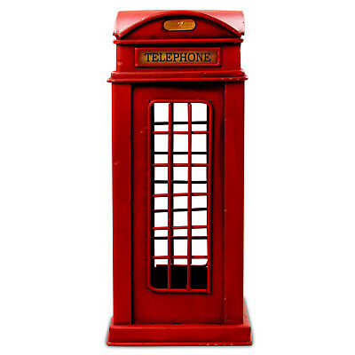 Vintage Retro Telephone Booth Money Box Tin Metal Ornament Coins Piggy Bank Gift