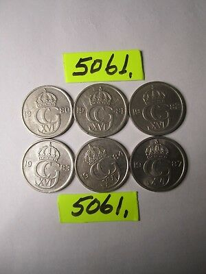 6 x 50 ore coins from Sweden     18    gms      Mar5061