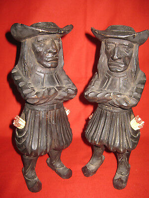Pair Of Rare Antique Wood Carved Figurine Candle Matchstick Holder By J. Martin