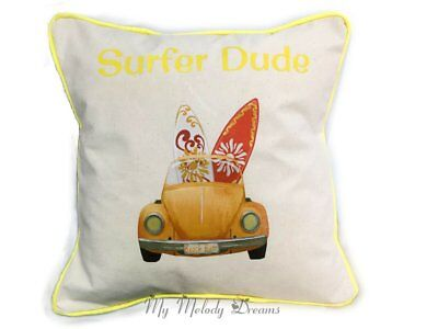 New Unique Surfer Dude VW Beetle Surfboard Cotton Cushion Cover Handmade  16""