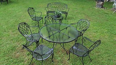 Lyon Shaw Windflower And Lattice Vintage Wrought Iron Patio Set, Seating  For 8