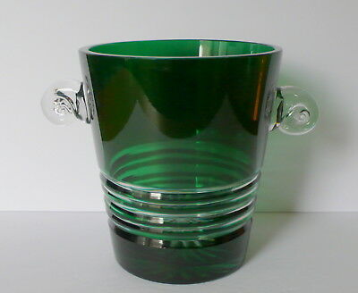 Vintage French  Emerald Green Crystal Glass Wine Champagne Ice Bucket Vase
