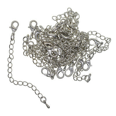 20pcs DIY Necklace Bracelet Jewelry Extender Chain with Lobster Clasp Silver