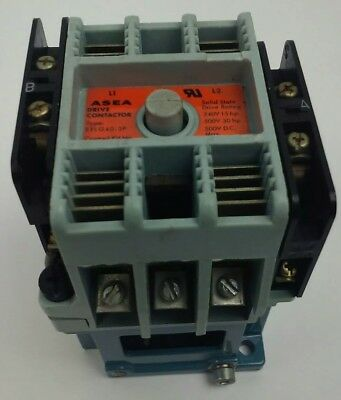 Asea, Eflg40-3P, Contactor, 3Ph, 56,120V Coil, 500V, 30H.p, Sk415006-F, Used, Ef