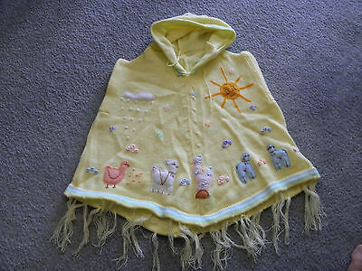 New Made In Peru Arpillera Poncho with Hood Size 4 Soft Spring Yellow #140106
