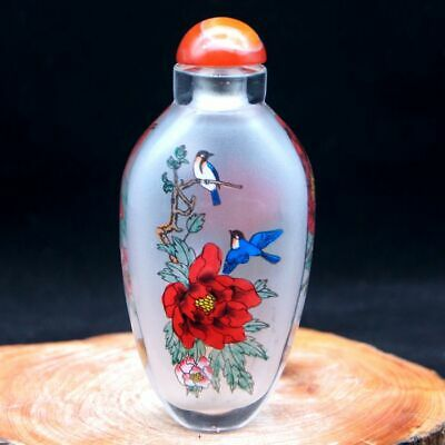 Chinese Collectible inside painted Ancient man and landscape glass snuff bottle