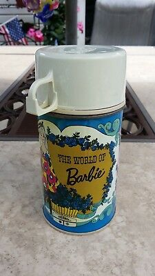 Vintage 1971 Lunch Box Thermos The World Of Barbie Tin Thermos W/ Both Lids