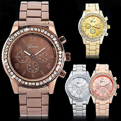 New Fashion Geneva Women Girl Unisex Crystal Stainless Steel Quartz Wrist Watch