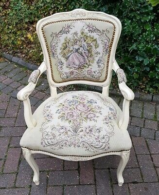 Pretty Pink Antique French Open Arm Chair Fauteuil with Tapestry Louis XVI Style