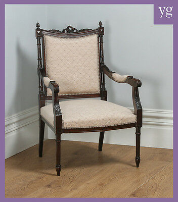 Antique French Louis XVI Style Walnut Salon Occasional Armchair (Circa 1880)