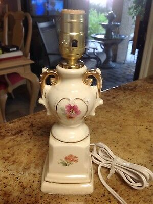 "Vintage Bedroom Boudoir Lamp Small Flowers With Gold Highlights 11 1/4""No Shade"