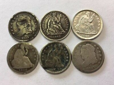 Lot of 6 - Half Dimes United States Silver Coins Capped Bust & Seated - See Pics