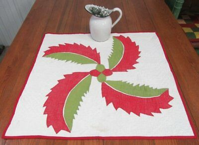 "Early c 1850s Red Green Princess Feather QUILT Table crib Applique 29"" x 28"""