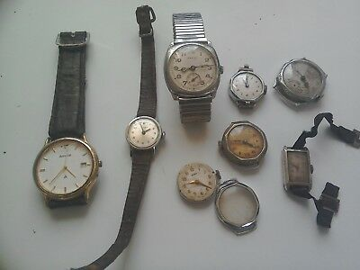 Job Lot of 8 Vintage Mixed Watches for spares or repairs