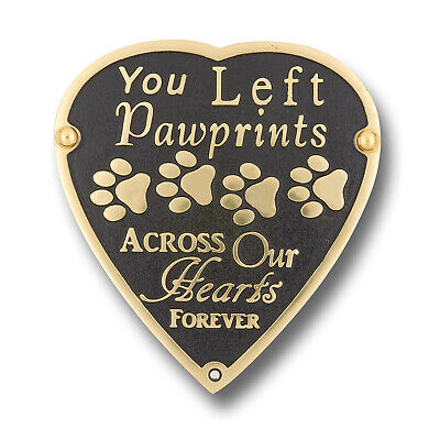 Pet Memorial 'Pawprints' Metal Plaque With Garden Stake For Dog Or Cat.