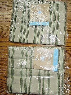 Valance-Country, Primitive, Farm Green Stripe Bands-Set Of 2-New!