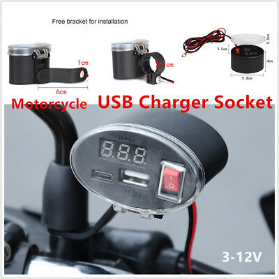 Multifunction Waterproof USB Motorcycle Handlebar Charger Socket w/ Switch Mount