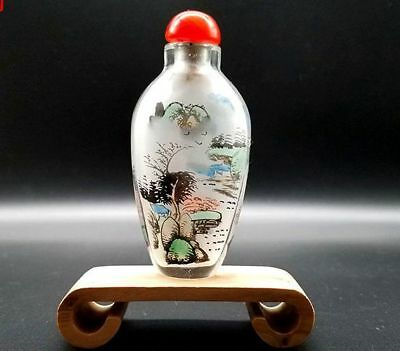 Chinese Handmade Inside painted landscape&villages glass Snuff Bottle