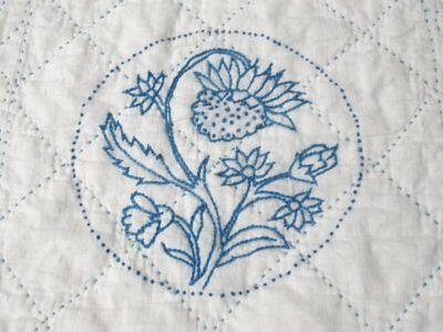 Farmhouse c 30s Amish Mennonite BLUE Sampler QUILT Vintage Flowers Birds
