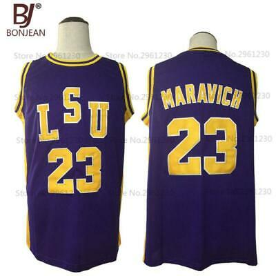 e4bf9b8a2 New Pete Maravich 23 Pistol LSU College Throwback Basketball Jersey