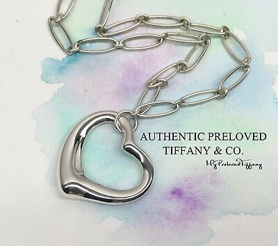 Excellent Authentic Tiffany & Co. Elsa Peretti XL Large Open Heart Link Necklace