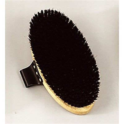 Equerry Wooden Backed Body Brush - Vale Brothers Leather Handle Black Color 4783