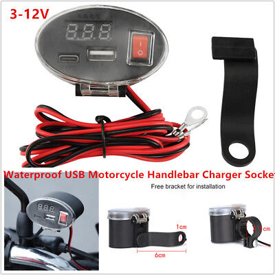 12V Waterproof USB Motorcycle Scooter Handlebar Charger Socket w/ Switch & Mount