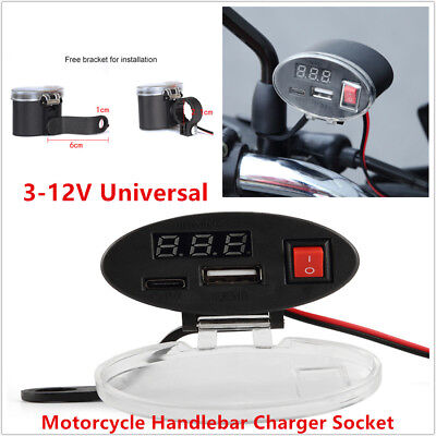 12V Waterproof USB ATVs Motorcycle Handlebar Charger Socket w/ Switch & Mounts
