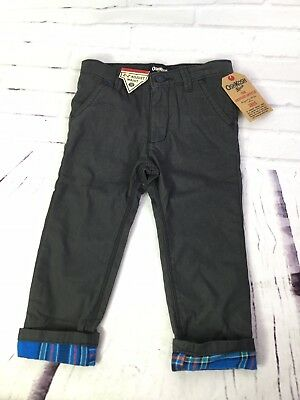 Oshkosh Bgosh Dark Gray Lined Plaid Pants Adjustable Waist Boys Size 24 Months