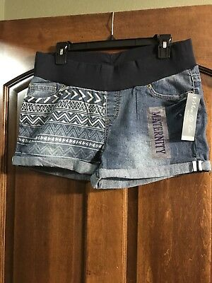 Mom & Co. Patterned Denim Under Belly Cuffed Maternity Shorts Size M/L NWT