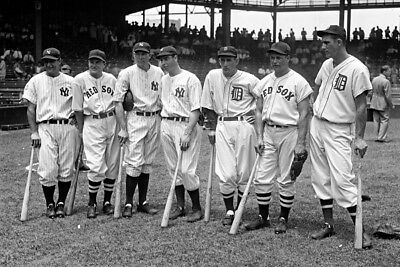 New 4x6 Photo: Baseball Greats Lou Gehrig & Joe DiMaggio with others