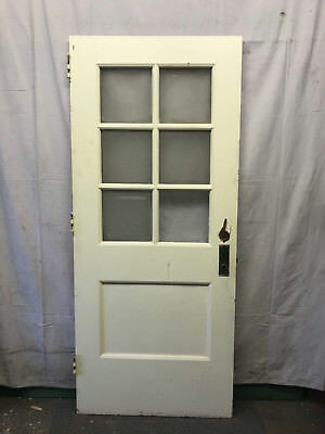 Wood Interior Door 6 Lite School Salvaged Architectural Vintage Privacy Glass