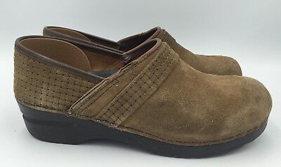 Sanita Professional Clog Brown Suede Women Sz 39 US 9
