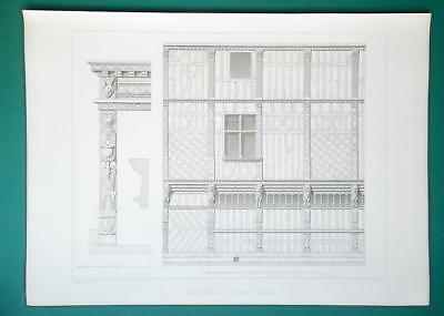 ARCHITECTURE (2) PRINTS 1864 - TIMBER House in Beauvais Rue St. Martin France