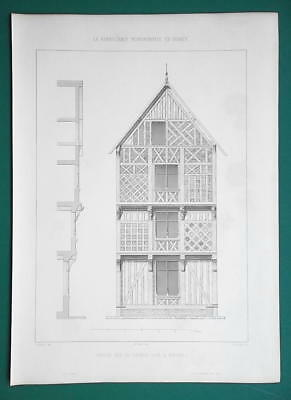 ARCHITECTURE PRINT 1864 - TIMBER House in Beauvais Rue du Chariot d'Or France
