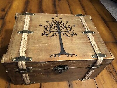 Lord Of The Rings Tree Of Gondor Wood Burned Box Chest Collector's Book Holder