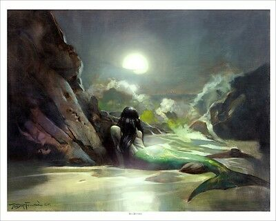 MERMAID MOON MADNESS! Mike Hoffman 5 Art Prints SIGNED!