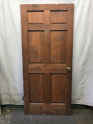 6 Panel Salvaged Interior Wood Door Architectural Vintage 36x80