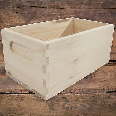 Xsmall Unpainted Pine Wooden Storage Box With Handles Open