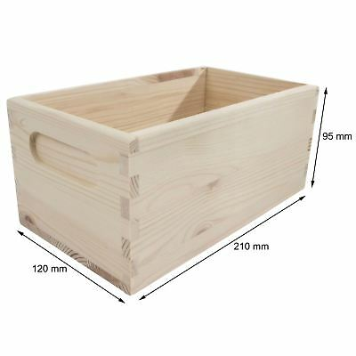 Wooden Crate Chest 21x12x9cm Plain Storage Box To Decorate Craft Decoupage