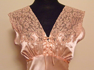 Vintage 1950s Pink Satin And Lace Nightgown