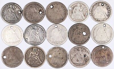 Lot 15 Seated Liberty Dime 10C Silver 1841-O,1848,1849-O,1853,1854,1857-O,1871