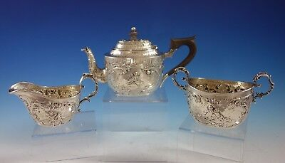 German .800 Silver Tea Set 3pc Figural Repoussed Cupids and Flowers  (#2902)