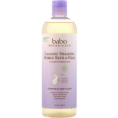 Babo Botanicals  3 in 1  Calming Shampoo  Bubble Bath   Wash  Lavender