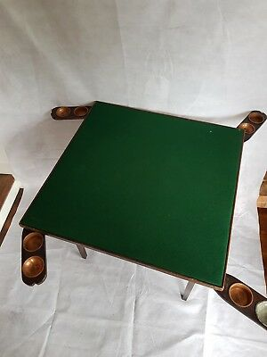 Antique 1920's folding card table - Green felt with copper cup holders  POKER